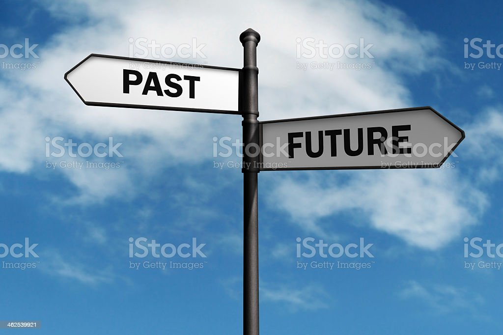 Sign post for past and future against blue sky stock photo