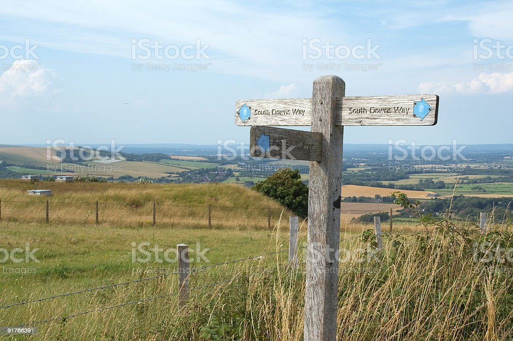 Sign post on hill stock photo