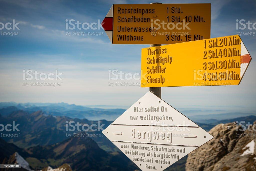 sign post on mountain Säntis stock photo