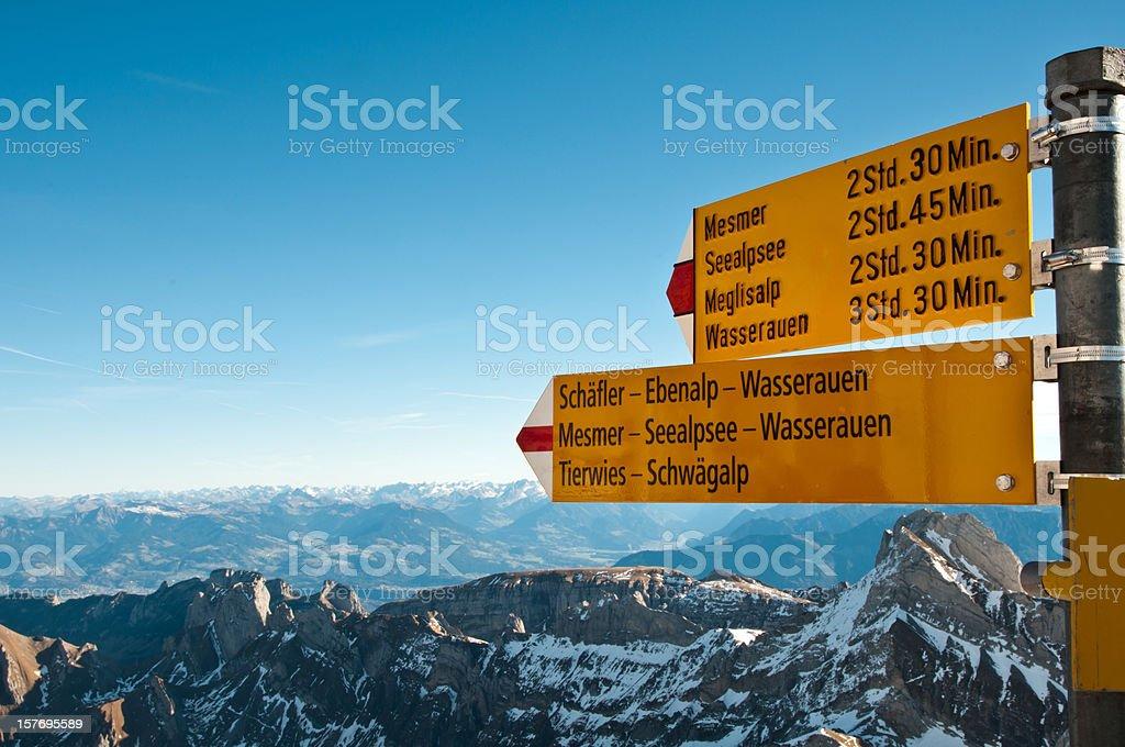 sign post on mountain Säntis, Switzerland stock photo