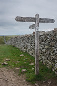 Sign post on top of Pen-y-ghent, England