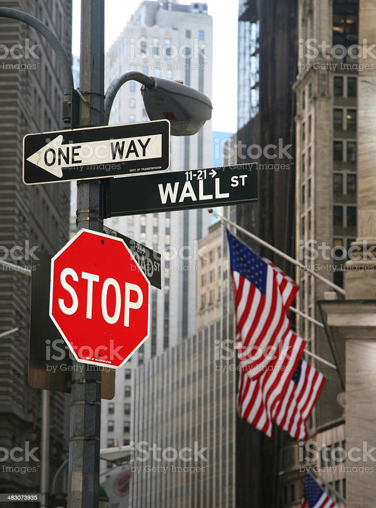 Sign Post On Wall Street royalty-free stock photo