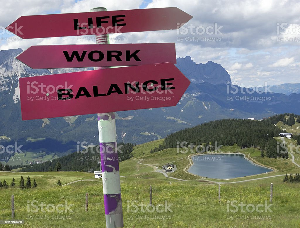 Sign post showing the work life balance stock photo