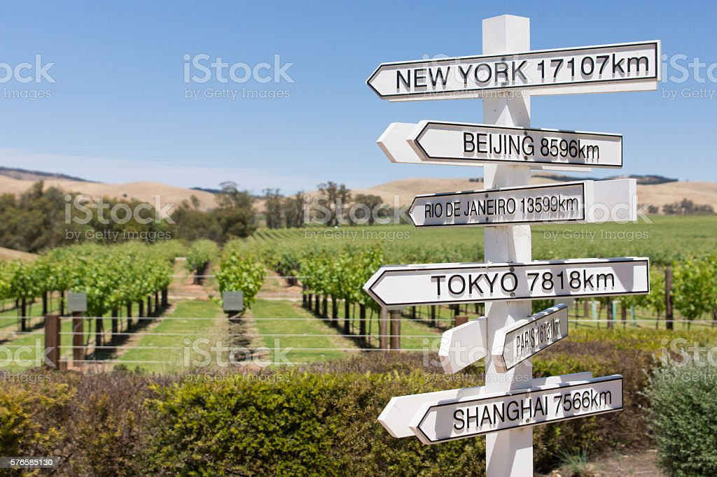 Sign post to cities of the world stock photo