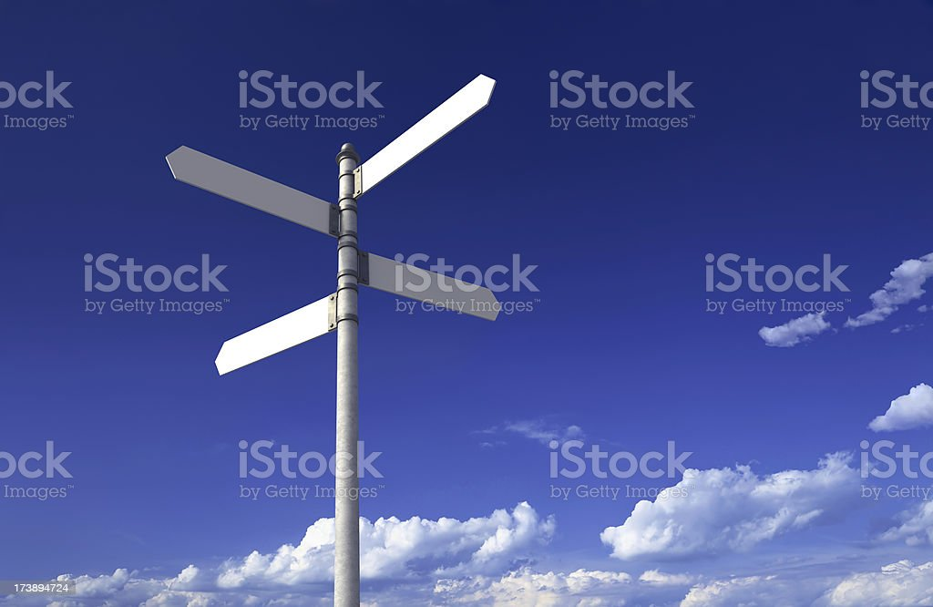 Sign post with four blank signs on a blue sky royalty-free stock photo