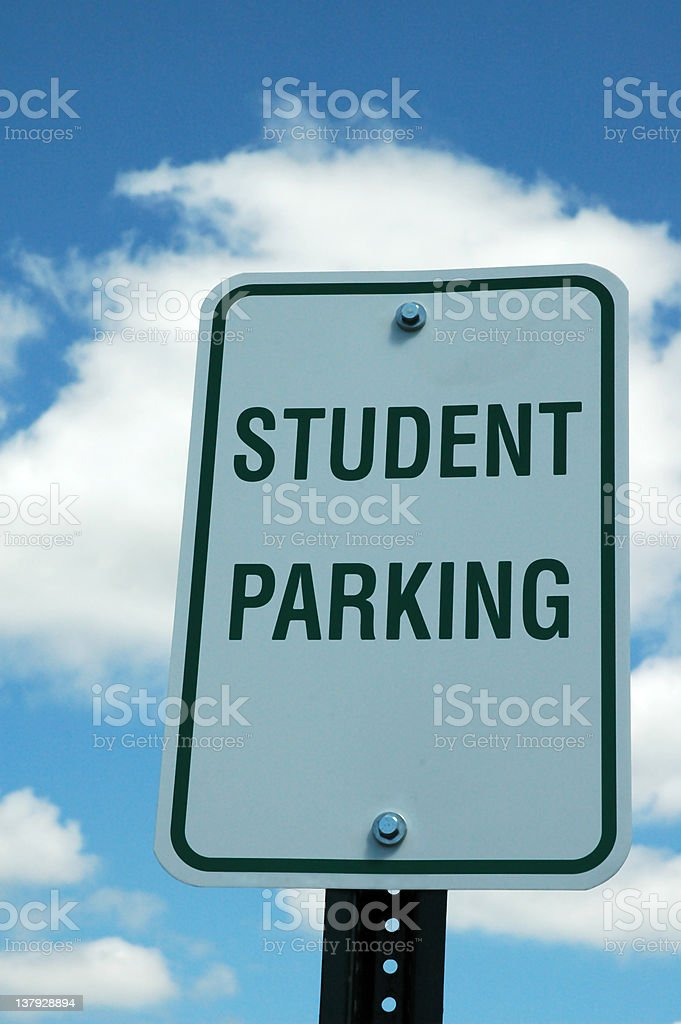 Sign reading student parking with sky and background stock photo