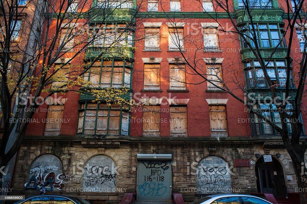 Sign reads Harlem Not For Sale Fight Back. Gentrification Harlem. stock photo