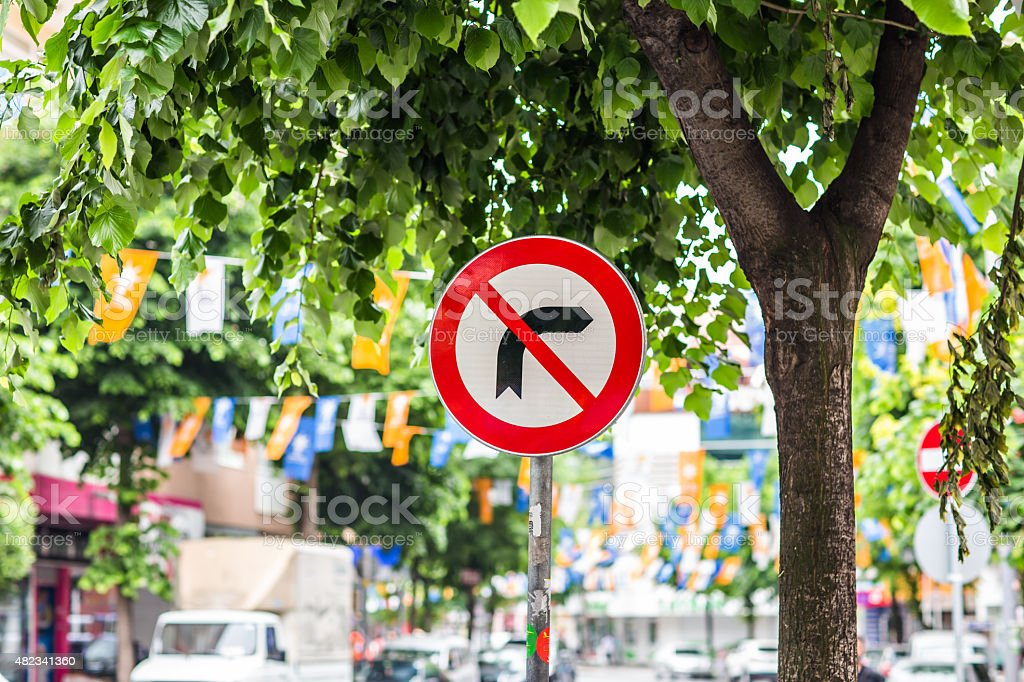 sign right turn is prohibited stock photo
