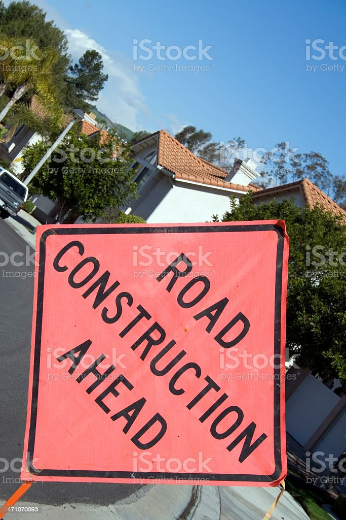Sign: Road Construction Ahead royalty-free stock photo