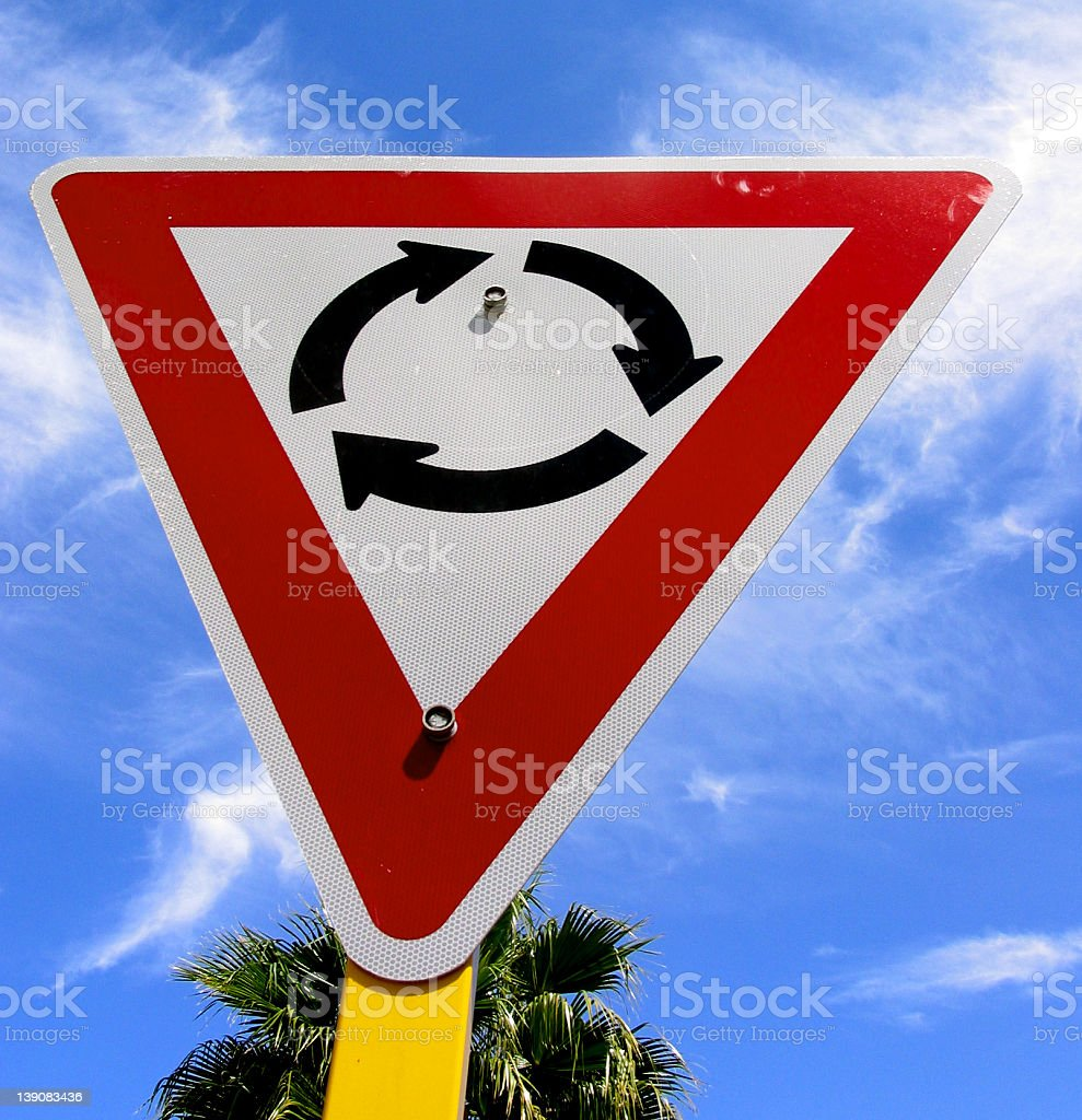 sign - roundabout stock photo