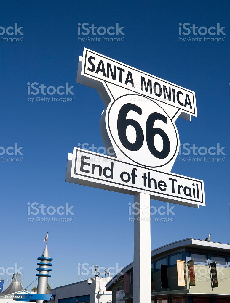 Sign- Santa Monica End of the Trail royalty-free stock photo