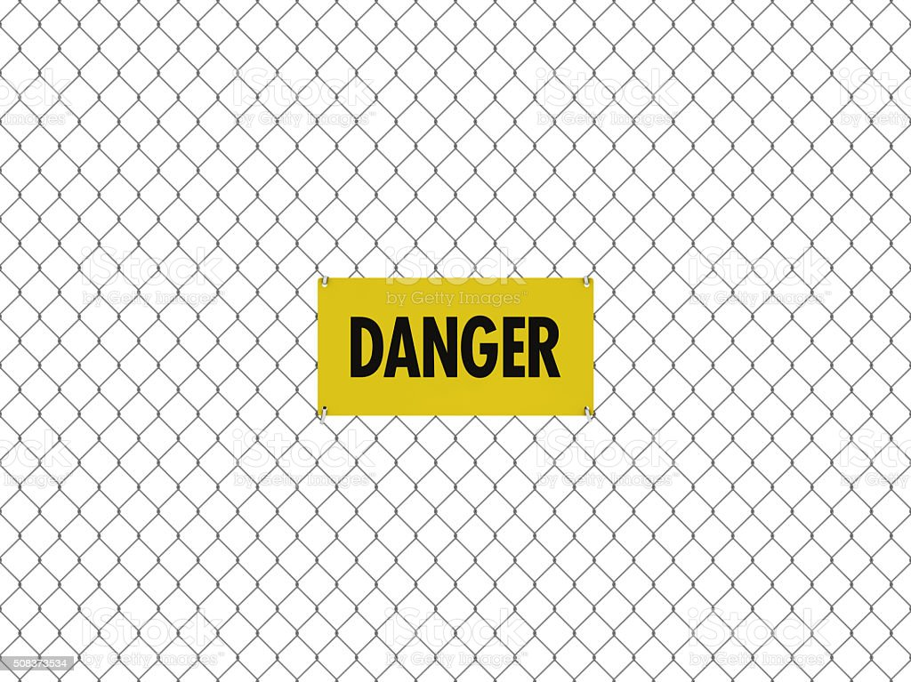 DANGER Sign Seamless Tileable Steel Chain Link Fence stock photo