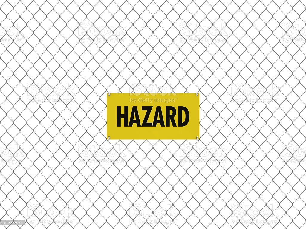 HAZARD Sign Seamless Tileable Steel Chain Link Fence stock photo