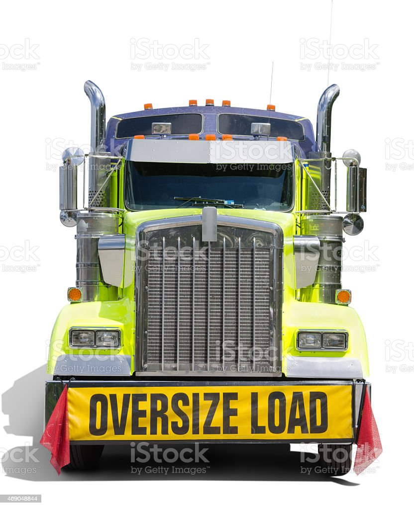 OVERSIZE LOAD sign semi tractor truck stock photo