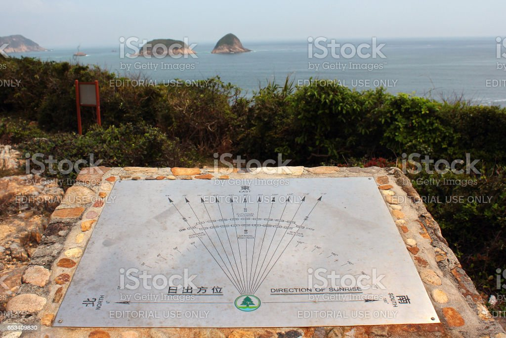 Sign showing direction of sunrise at different seasons. stock photo