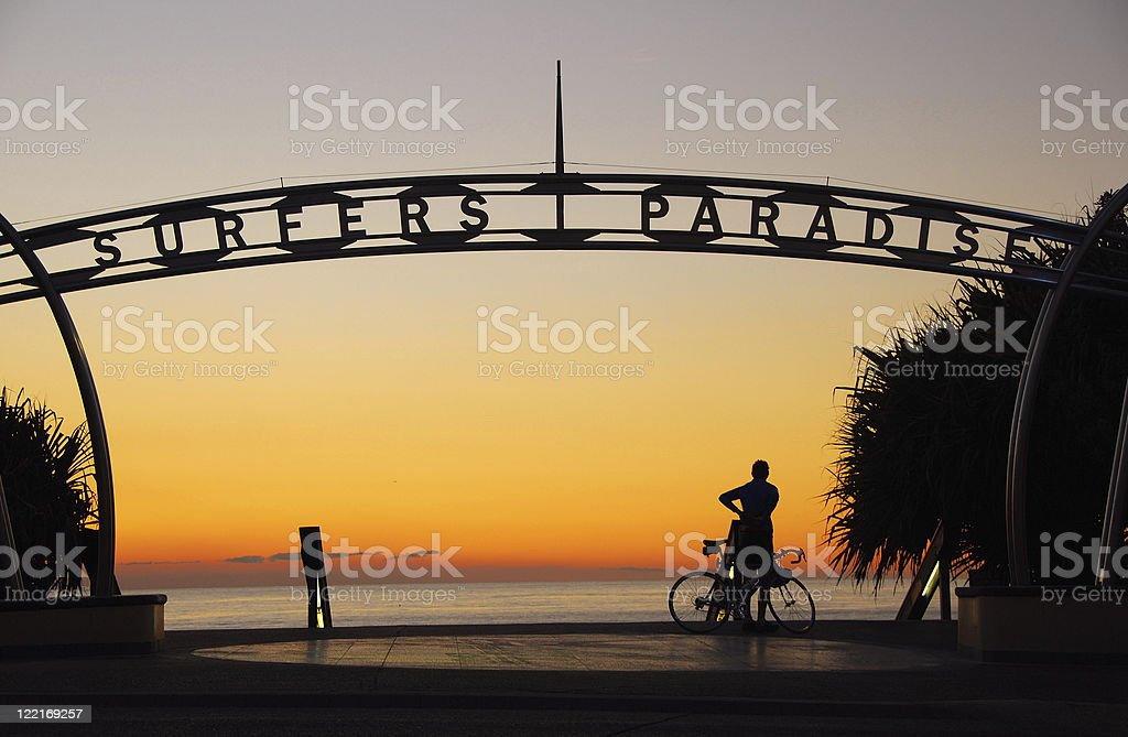 A sign showing Surfers Paradise in Queensland, Australia stock photo