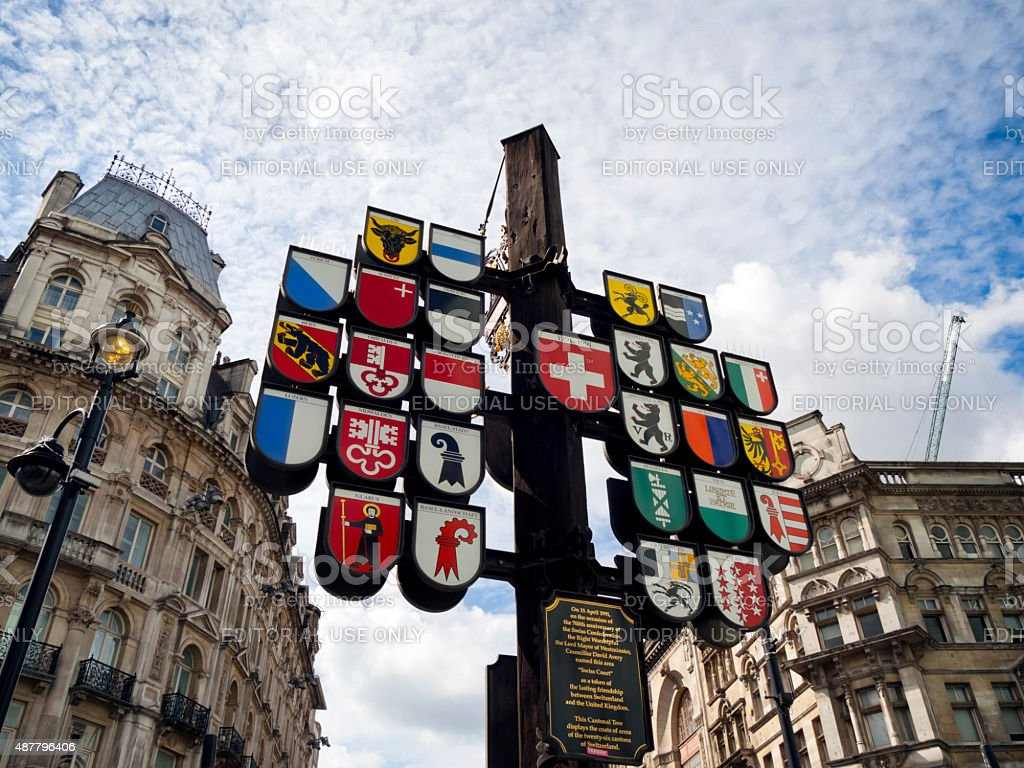 Sign showing Swiss cantons in Swiss Court, London stock photo