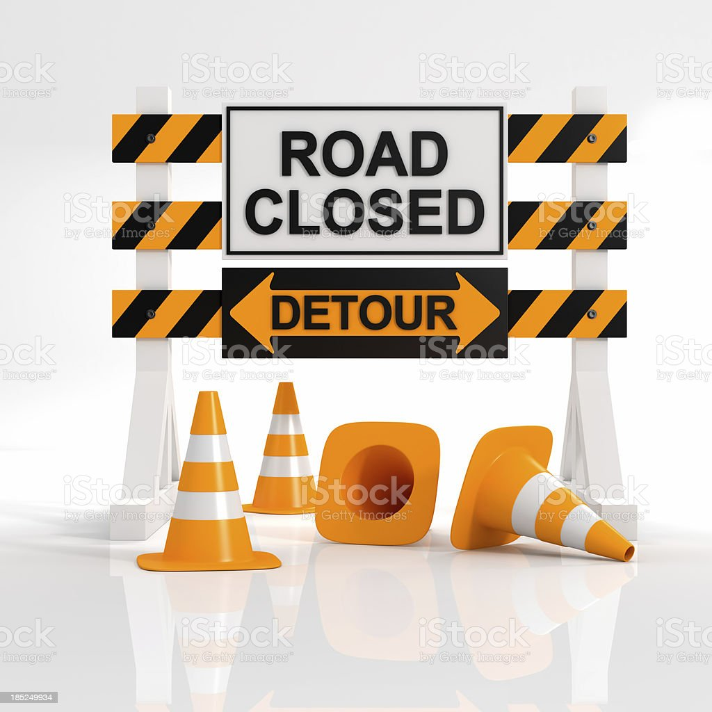 A sign showing that a road is closed with a detour sign stock photo