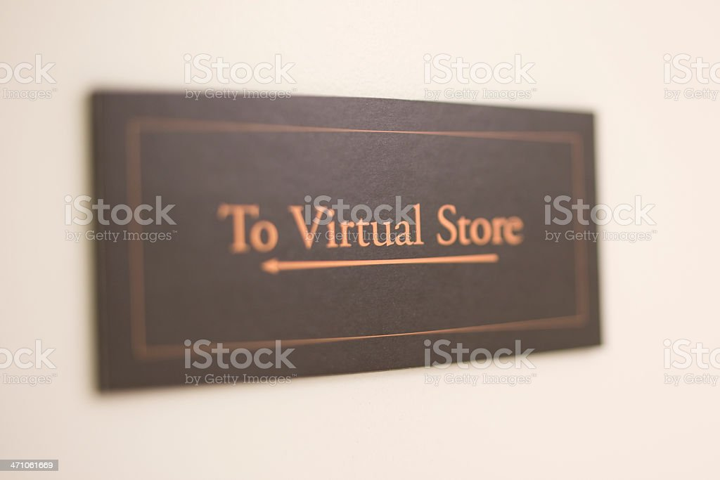 Sign showing way to 'virtual' store royalty-free stock photo