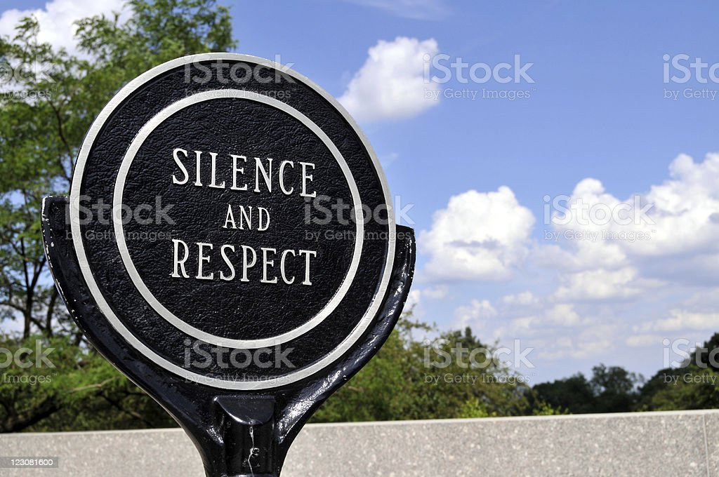 Sign 'Silence and Respect' royalty-free stock photo