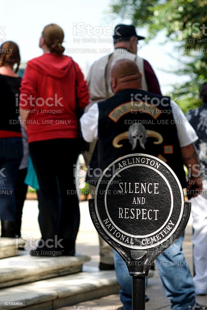 Sign 'Silence and Respect', Tomb of the Unknown Soldier stock photo