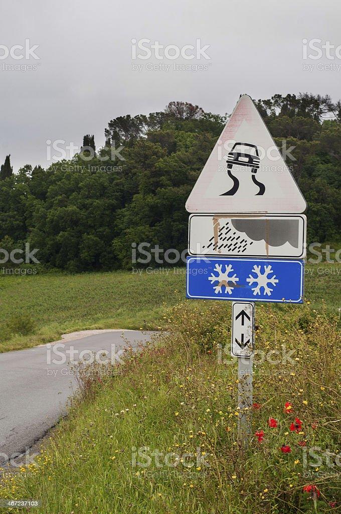 Sign 'slippery road' stock photo