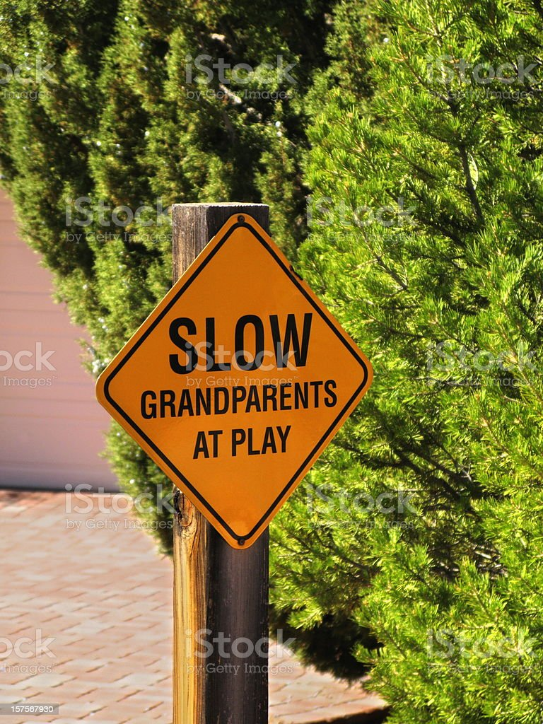Sign Slow Grandparents Play Funny royalty-free stock photo