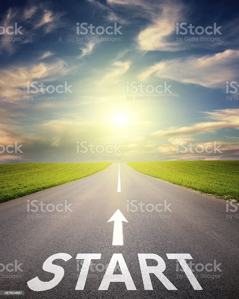 Sign start on an empty road stock photo