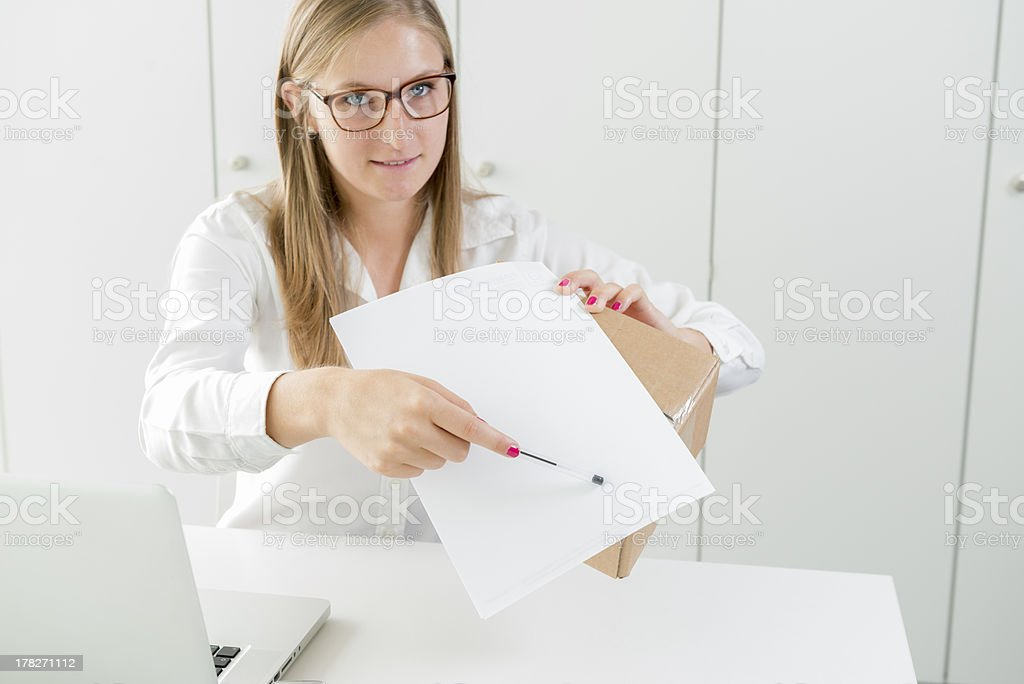 Sign the receipt, for delivery royalty-free stock photo