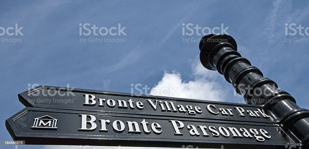 Sign to Bronte Museum Haworth stock photo
