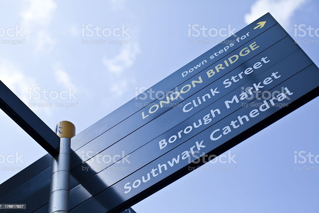 Sign to London Bridge stock photo