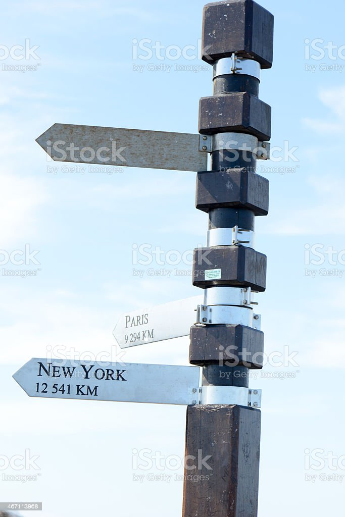 Sign to New York stock photo