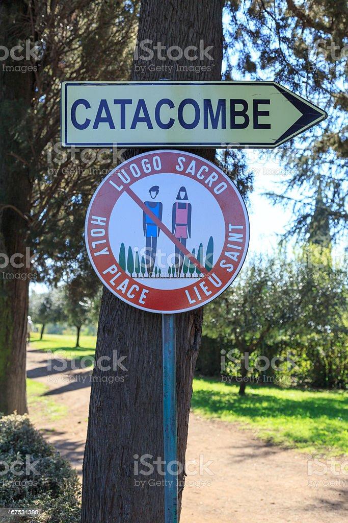 Sign to Roman Catacombs stock photo