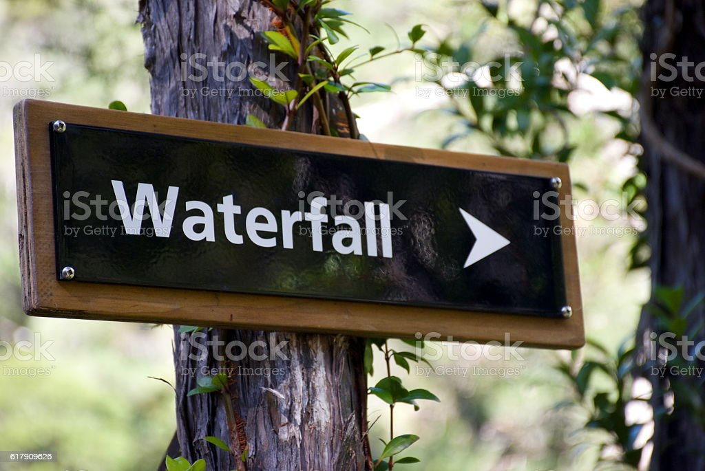 Sign to Waterfall stock photo