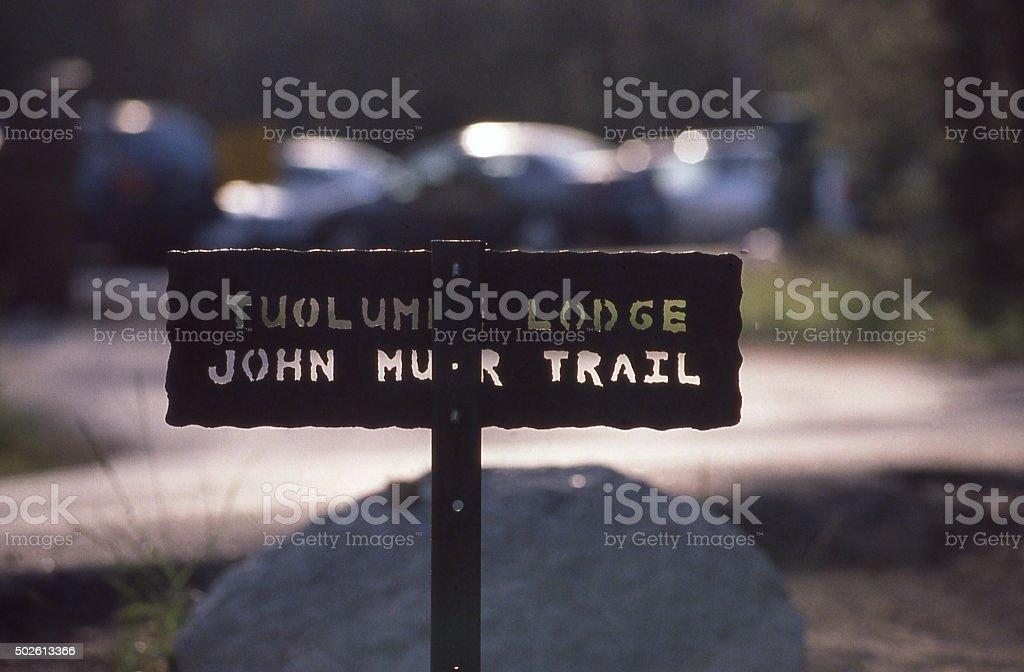 Sign Tuolumne Lodge John Muir Trail Yosemite National Park California stock photo