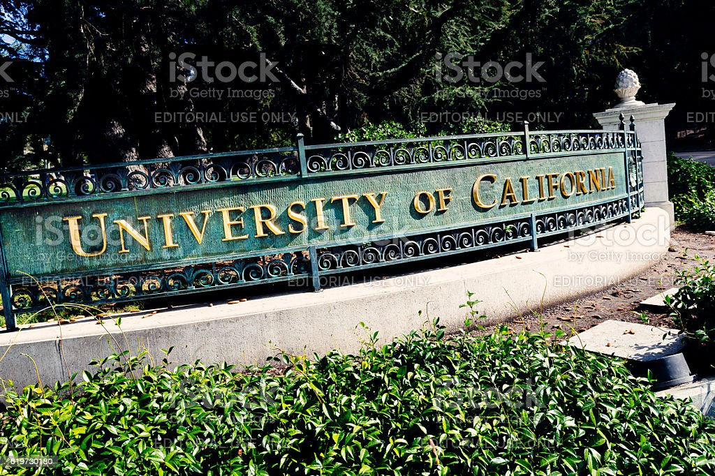 Sign, University of California at Berkeley stock photo