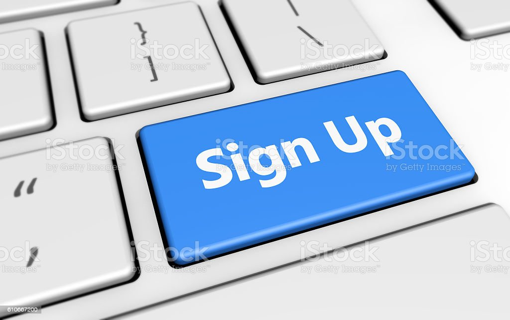 Sign Up Button Keyboard stock photo