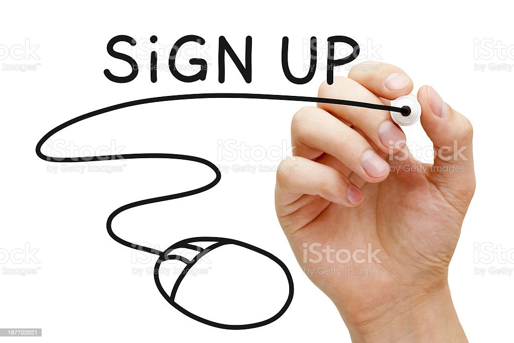 Sign up concept in black marker stock photo
