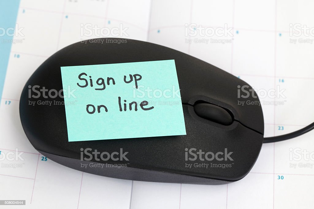 Sign Up on the Internet stock photo