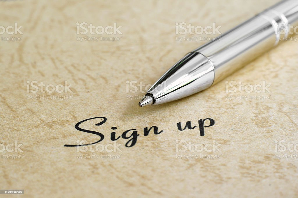 Sign up royalty-free stock photo