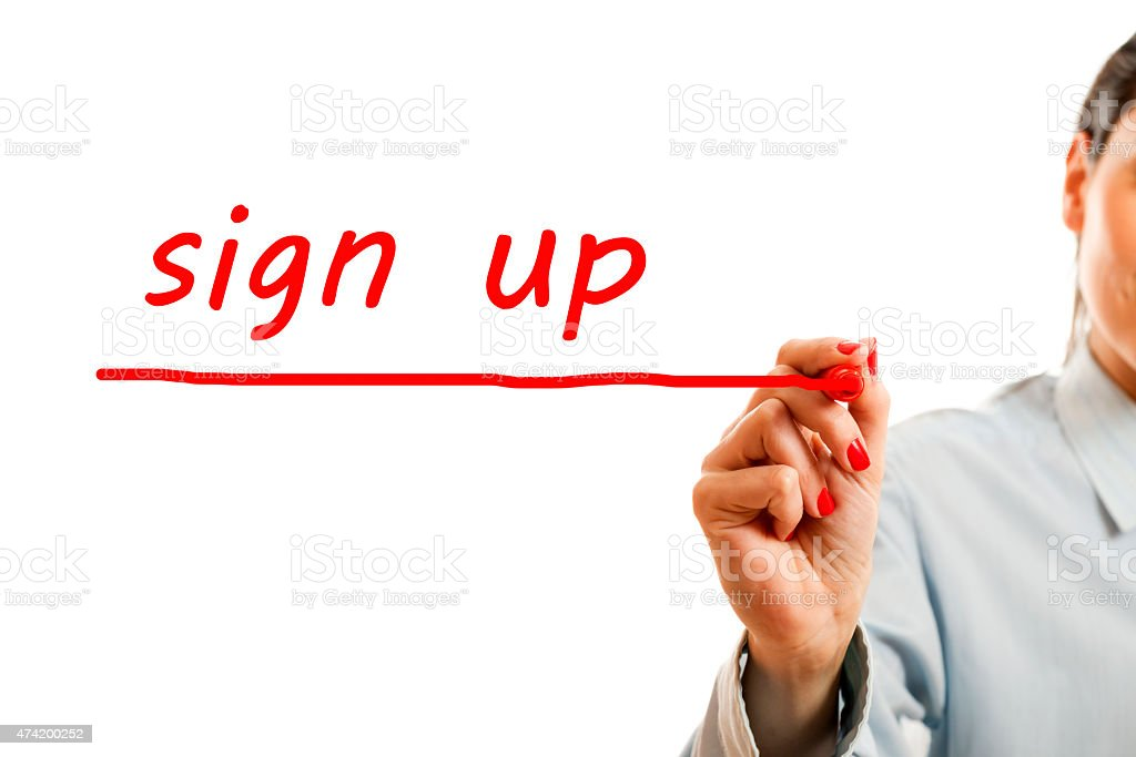 Sign Up Red Marker stock photo