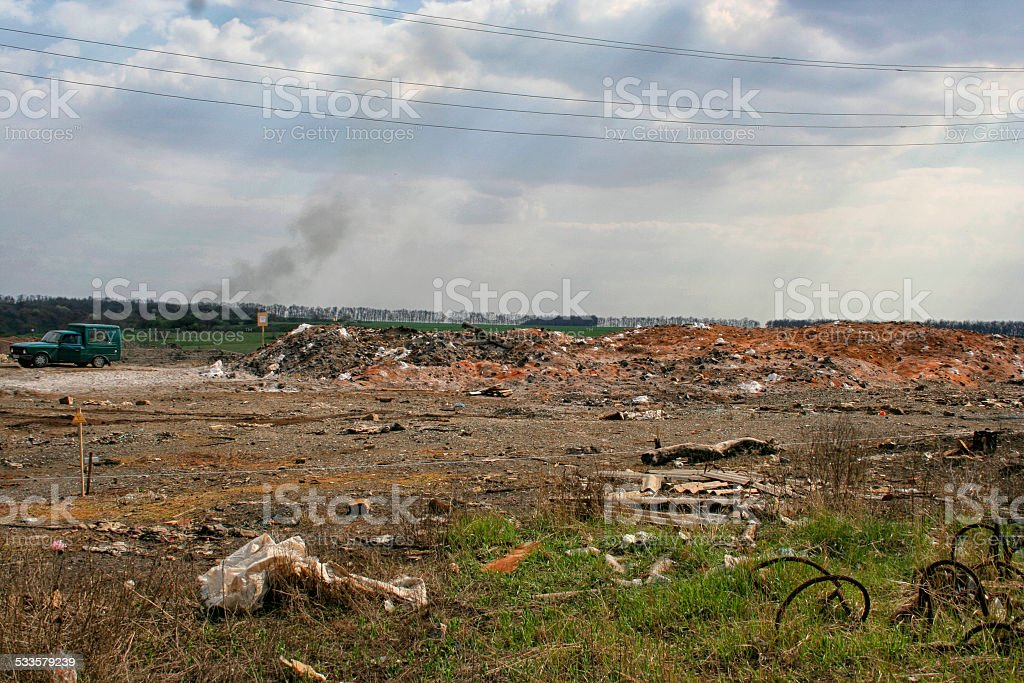 sign warning about the zone contaminated by radiation stock photo