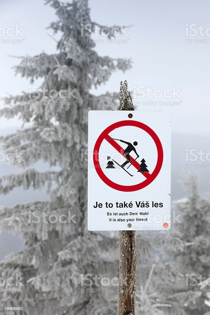 sign warning for off piste skiing in the Czech Republic royalty-free stock photo