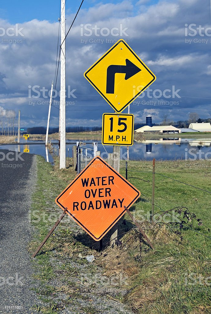 Sign warning of water over roadway stock photo