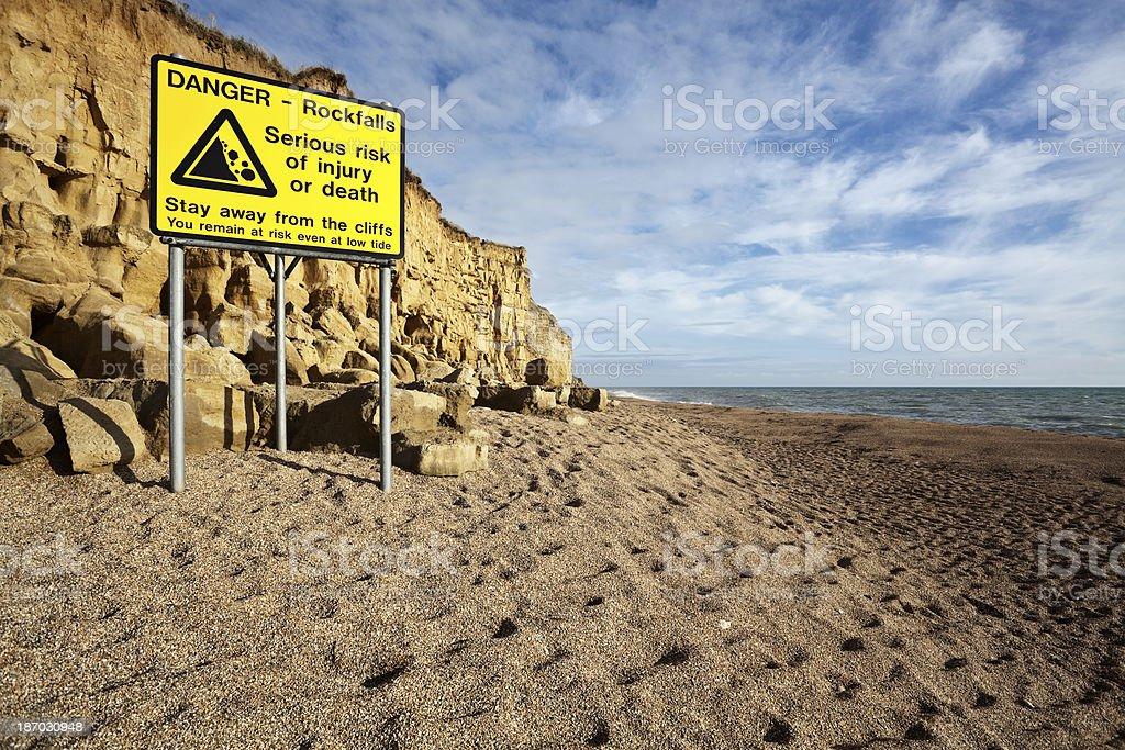 Sign warns of landslide danger on Jurassic Coast in Dorset stock photo