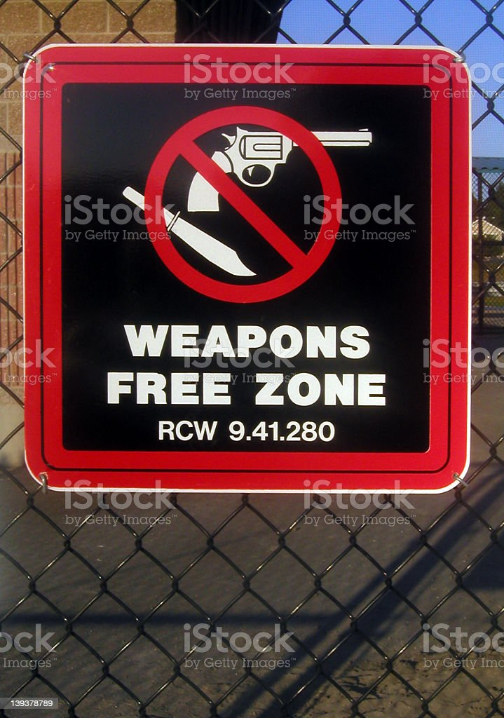Sign: Weapons Free Zone royalty-free stock photo