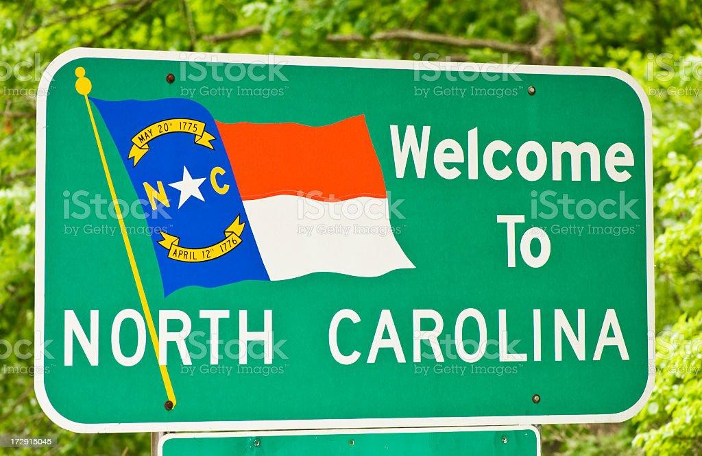 Sign welcoming you to North Carolina stock photo