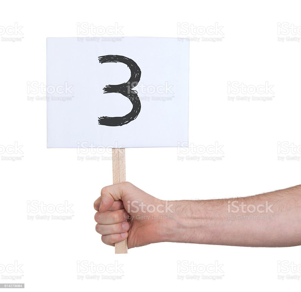 Sign with a number, 3 stock photo