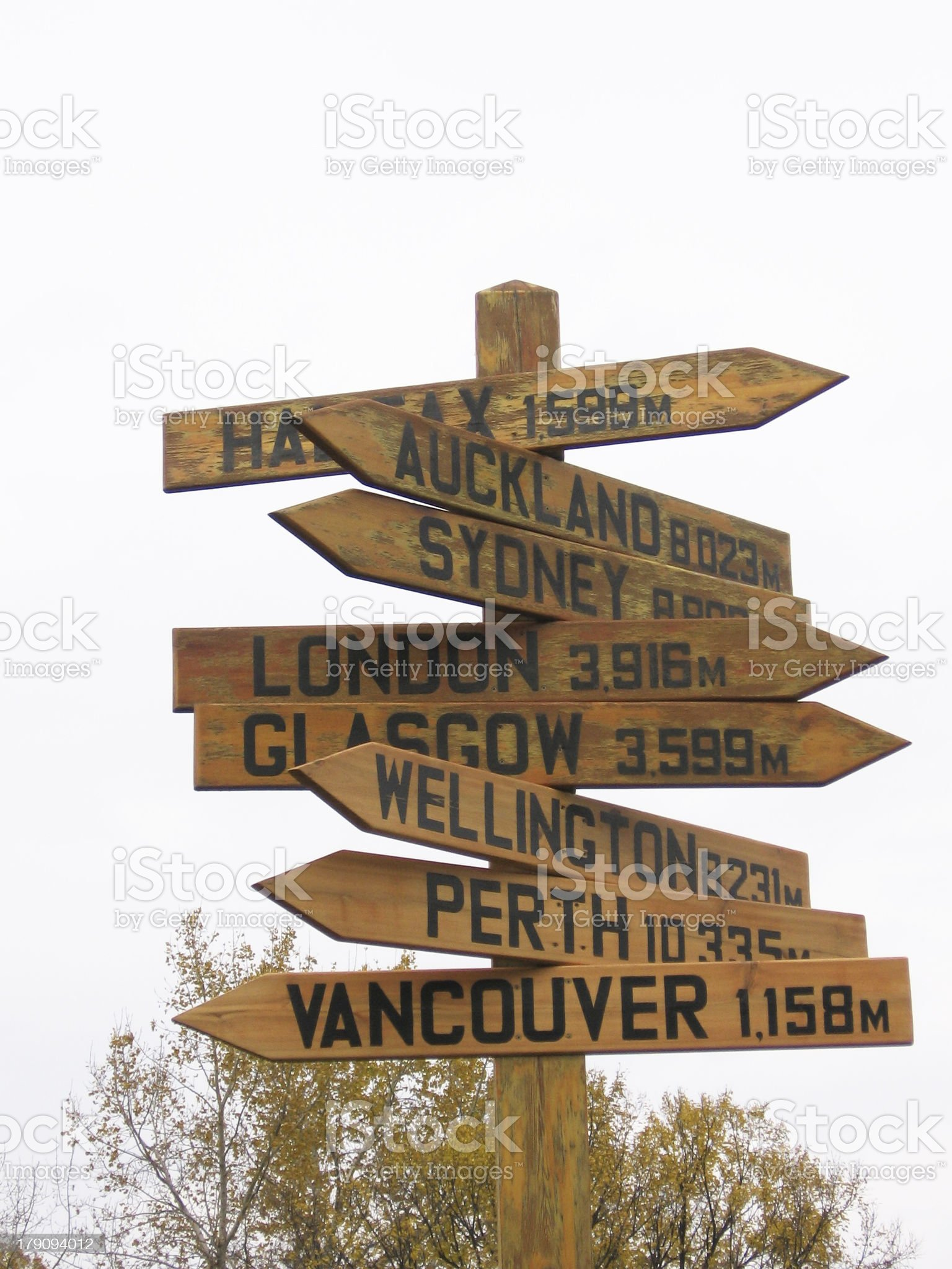 Sign with Directions to major cities around the world royalty-free stock photo