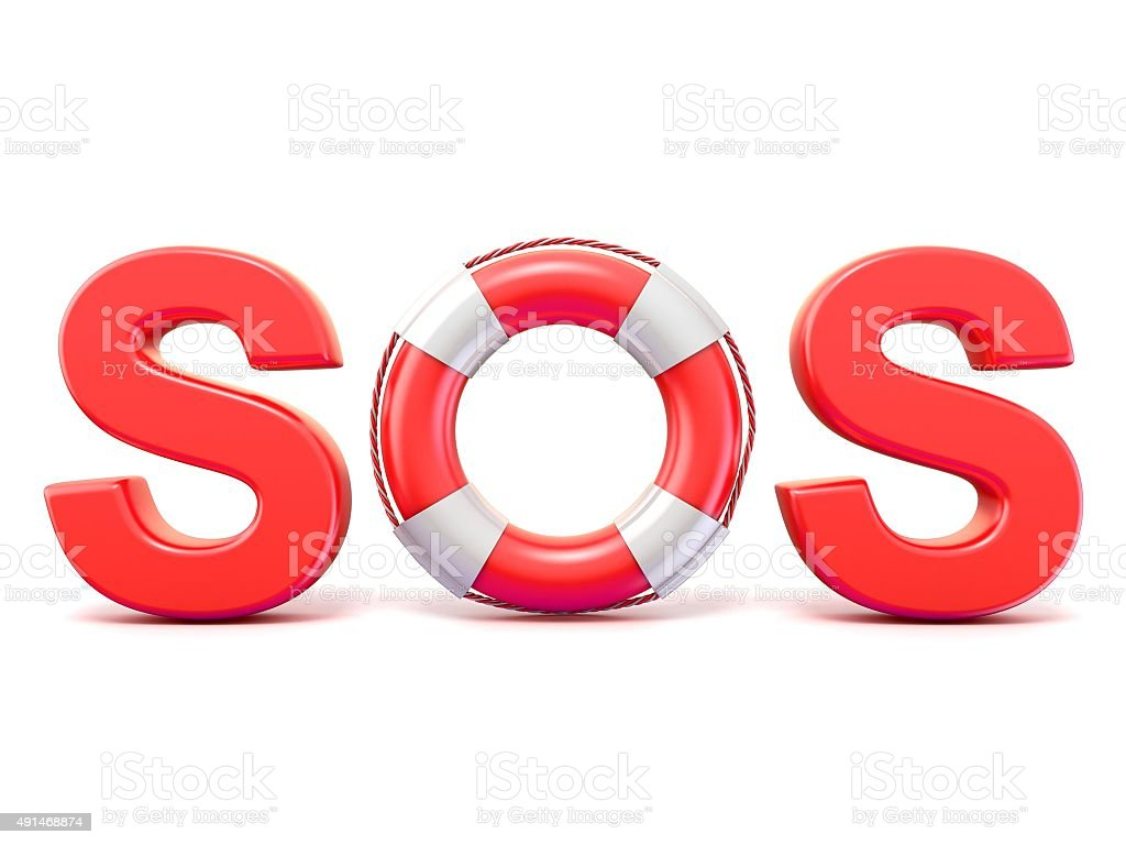 SOS sign, with lifebuoys. 3D render stock photo